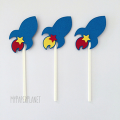 Rocket Cupcake Toppers in Blue. Birthday party, space party. Party decorations.