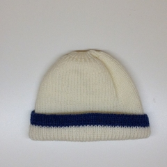 Baby Knitted Hat; Cream and Navy Blue - Pure Australian Merino wool.