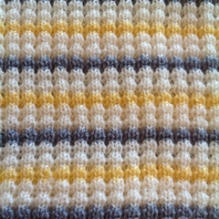Pale Yellow, Grey and Cream Pure Australian Merino Wool Knitted Baby Blanket.