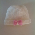Baby Girl's Knitted Hat; Cream with a Pink Bow - Pure Australian Merino wool.