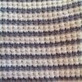 Pale Grey and Cream Pure Australian Merino Wool Knitted Baby Pram Blanket.