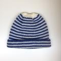 Baby Knitted Hat; Cream and Navy Blue Stripe - Pure Australian Merino wool.