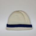 Baby Knitted Hat; Cream and Navy Blue - Pure Australian Merino wool.