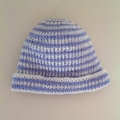 Baby Knitted Hat; Cream and Mid Blue Stripe - Pure Australian Merino wool.