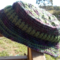 crocheted winter hat with brim. Purple and green ON SALE!!!