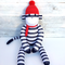 'Sidney' the Sock Monkey - navy blue & white stripes  with red - *READY TO POST*