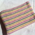 Pale Green, Cream, Pink & Yellow Pure Australian Merino Knitted Baby Blanket.
