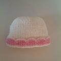 Baby Girl's Knitted Hat; Cream and Pink - Pure Australian Merino wool.