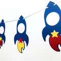 Rocket space banner. First birthday party. Birthday, baby shower.