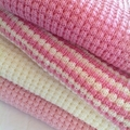 Knitted Baby Blanket - Pale Pink and Cream Pure Australian Merino Wool.