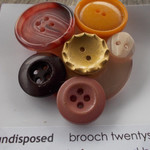 Brooch - undisposed twenty seven. made from vintage buttons ON SALE!!