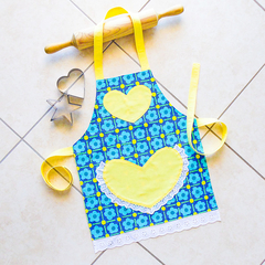 Kids Apron Daisy Chain yellow- girls lined kitchen/craft/play/art - blue flowers