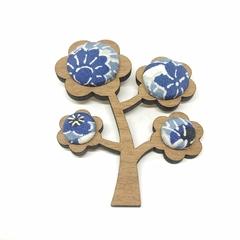Kimono Tree Brooch - Blue Florals