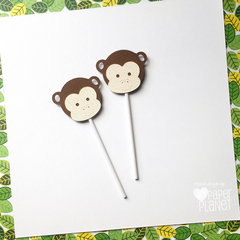 Monkey Cupcake Toppers. Birthday, little monkey, jungle party. Party decor.