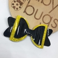 Yellow and Black glittery vinyl hair bow 4""