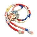 Kimono Strand Necklace -  Red and Blue Florals