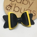 Yellow and Black faux leather bow 4""