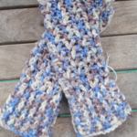 crocheted fingerless mitts. cream, camel and light blue. Pure wool ON SALE!!!
