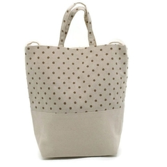 Fabric Tote Shoulder Hand Bag Cream in Brown Mini Dots
