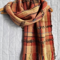 Pure Wool Wrap, Hand Dyed, Spun & Woven, Autumn Colours