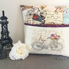 Paris Bike pocket cushion
