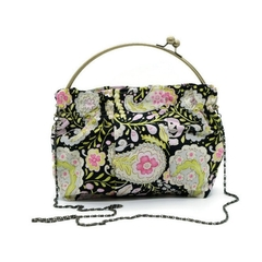 Paisley Kiss Lock Clutch Purse Handbag in Lime and Pink in Black Background