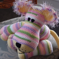 Candy: hand crocheted lion cub by CuddleCorner: OOAK, washable, pinks/purples