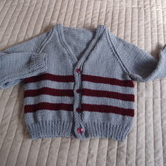 SIZE 3-4 :Hand knitted cardigan : Boy, washable