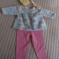 Size 0-6mths hand knitted baby jacket/cardigan, beanie and headband