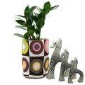 Fabric Planter Pot Basket Bin for Indoor Plants Succulents - Retro Circles