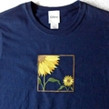 Womens embroidered short sleeved navy cotton tshirt - Size large