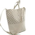 Fabric Tote Shoulder Hand Bag Cream in Brown Mini Dots