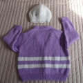 SIZE 3 (+) - Hand knitted cardigan and matching beanie