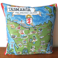 Tasmania The Holiday Island Tea Towel Cushion
