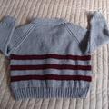 SIZE 3-4 :Hand knitted cardigan : Boy, washable