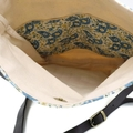 Fold Over Crossbody Fabric Bag with Leather Straps in Cream and Blue Paisley