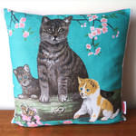Tabby Cat & Kittens Linen Cushion