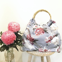 Dove grey and pink floral handbag - nappy bag - perfect mother's day gift