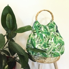Green leaf hand bag - nappy bag - grocery bag cane handles