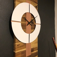 Solid Acacia Timber  and Genuine Copper and Matte White Wall Clock