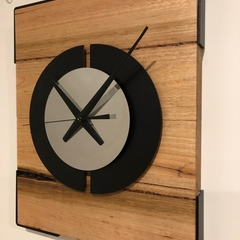 Solid Ash Timber and Chrome Wall Clock.