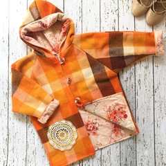 Orange upcycled wool blanket with floral lining - fits size 4 - 5