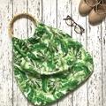 Green leaf hand bag - nappy bag - grocery bag cane handles