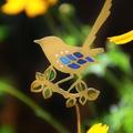 Fairy Wren on a Leafy Branch Garden Decoration