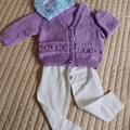 Size 3-9 months: Girls cardigan in purple with co-ordinated beanie