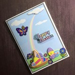 'Funny Chick Hatching' Easter Card with Purple Butterfly