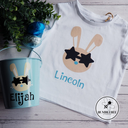 Bunny Face with Star Glasses - Personalised Kids Name Easter T-shirt.