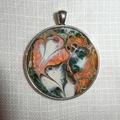 Pendant  , necklace, hand painted, round bezel.