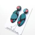 Mid century modern Oval drop polymer clay earrings