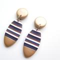 Metallic gold stripe Oval drop polymer clay earrings